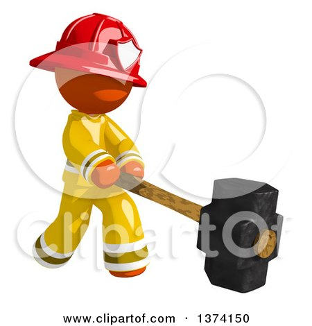 Clipart of an Orange Man Firefighter Swinging a Sledgehammer, on a White Background - Royalty Free Illustration by Leo Blanchette