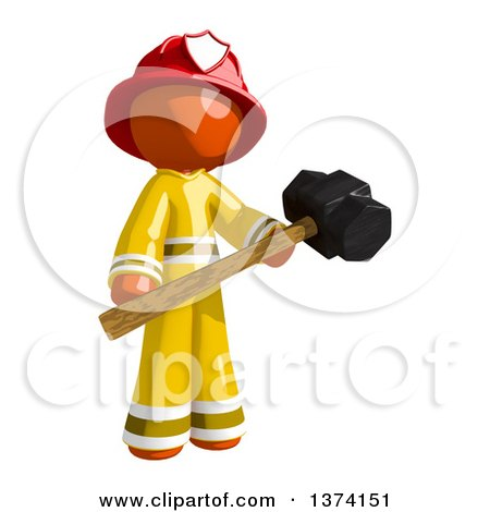 Clipart of an Orange Man Firefighter Holding a Sledgehammer, on a White Background - Royalty Free Illustration by Leo Blanchette