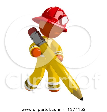 Clipart of an Orange Man Firefighter Writing with a Pencil, on a White Background - Royalty Free Illustration by Leo Blanchette