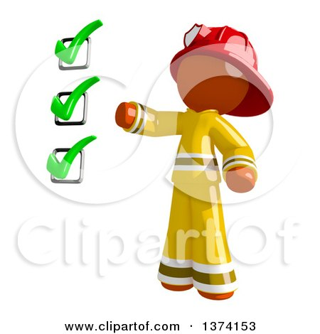 Clipart of an Orange Man Firefighter Presenting a Checklist, on a White Background - Royalty Free Illustration by Leo Blanchette