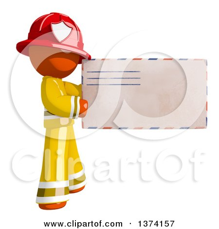 Clipart of an Orange Man Firefighter Holding an Envelope, on a White Background - Royalty Free Illustration by Leo Blanchette