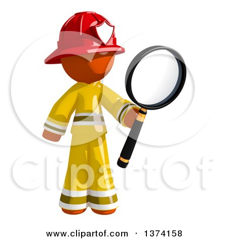 Clipart of an Orange Man Firefighter Searching with a Magnifying Glass, on a White Background - Royalty Free Illustration by Leo Blanchette
