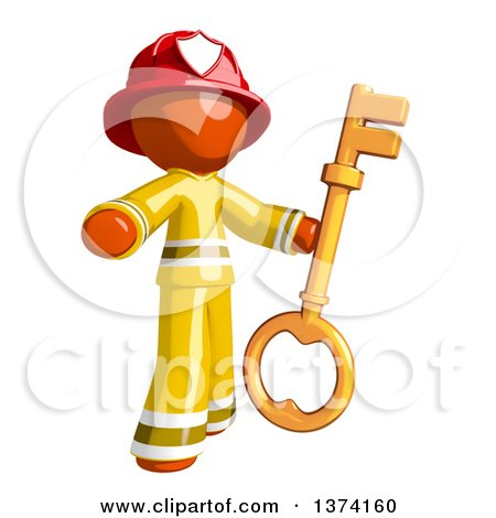 Clipart of an Orange Man Firefighter Holding a Key, on a White Background - Royalty Free Illustration by Leo Blanchette