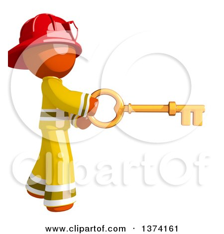 Clipart of an Orange Man Firefighter Using a Key, on a White Background - Royalty Free Illustration by Leo Blanchette