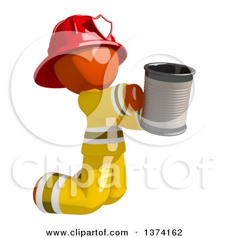 Clipart of an Orange Man Firefighter Beggar Kneeling and Holding a Can, on a White Background - Royalty Free Illustration by Leo Blanchette