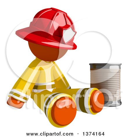 Clipart of an Orange Man Firefighter Beggar Sitting by a Can, on a White Background - Royalty Free Illustration by Leo Blanchette