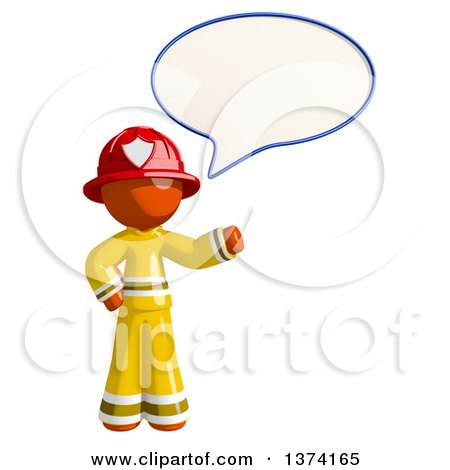 Clipart of an Orange Man Firefighter Talking, on a White Background - Royalty Free Illustration by Leo Blanchette