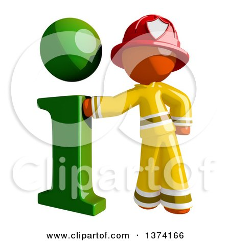 Clipart of an Orange Man Firefighter with an I Info Icon, on a White Background - Royalty Free Illustration by Leo Blanchette