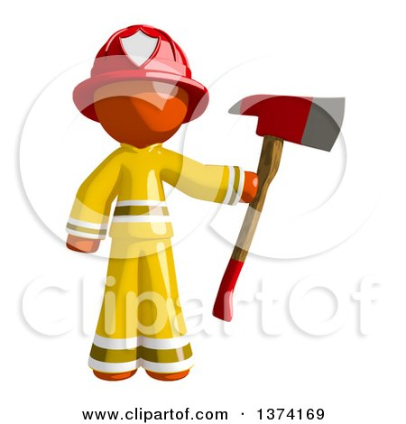 Clipart of an Orange Man Firefighter Holding an Axe, on a White Background - Royalty Free Illustration by Leo Blanchette
