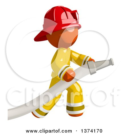 Clipart of an Orange Man Firefighter Using a Hose, on a White Background - Royalty Free Illustration by Leo Blanchette