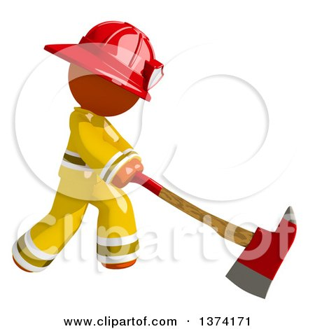 Clipart of an Orange Man Firefighter Swinging an Axe, on a White Background - Royalty Free Illustration by Leo Blanchette