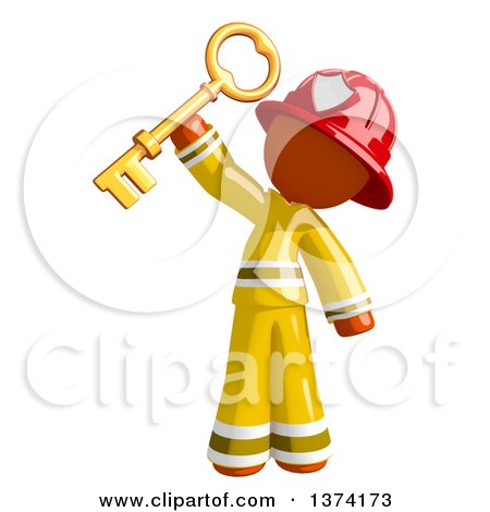 Clipart of an Orange Man Firefighter Holding up a Key, on a White Background - Royalty Free Illustration by Leo Blanchette