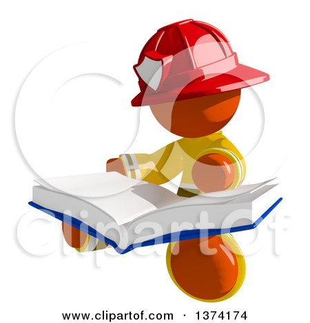 Clipart of an Orange Man Firefighter Reading a Book, on a White Background - Royalty Free Illustration by Leo Blanchette
