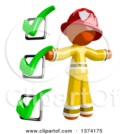 Clipart of an Orange Man Firefighter by a Checklist, on a White Background - Royalty Free Illustration by Leo Blanchette