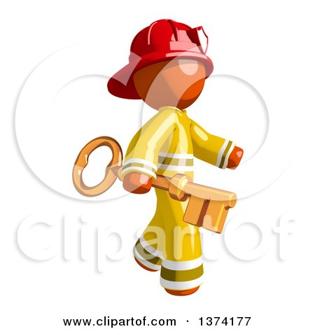 Clipart of an Orange Man Firefighter Carrying a Key, on a White Background - Royalty Free Illustration by Leo Blanchette