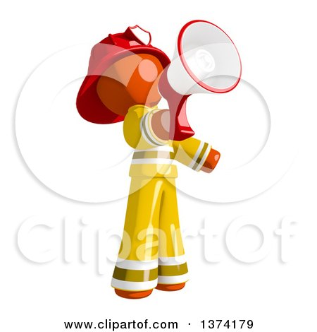 Clipart of an Orange Man Firefighter Announcing with a Megaphone, on a White Background - Royalty Free Illustration by Leo Blanchette