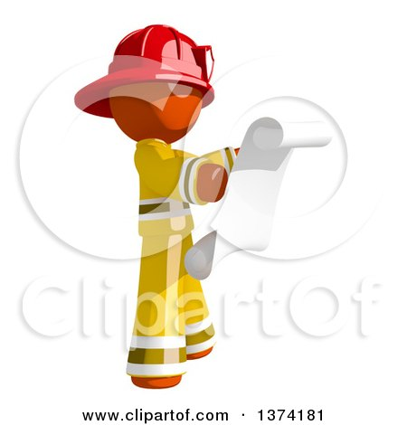 Clipart of an Orange Man Firefighter Reading a Scroll, on a White Background - Royalty Free Illustration by Leo Blanchette