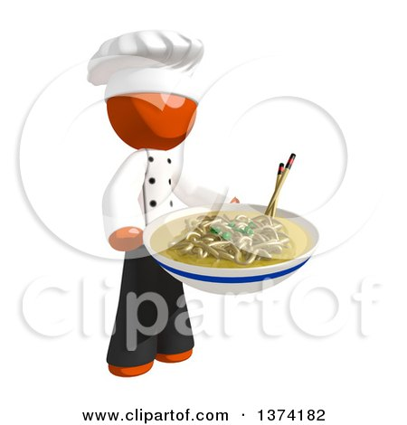 Clipart of an Orange Man Chef Holding a Bowl of Noodles, on a White Background - Royalty Free Illustration by Leo Blanchette