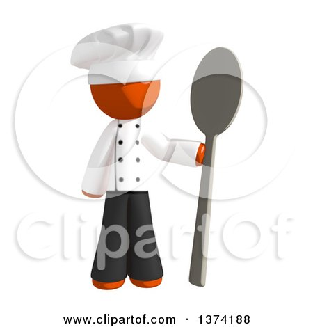 Clipart of an Orange Man Chef Holding a Giant Spoon, on a White Background - Royalty Free Illustration by Leo Blanchette