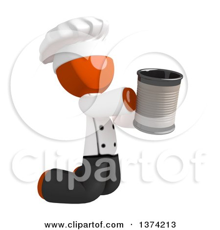 Clipart of an Orange Man Chef Kneeling and Begging, on a White Background - Royalty Free Illustration by Leo Blanchette