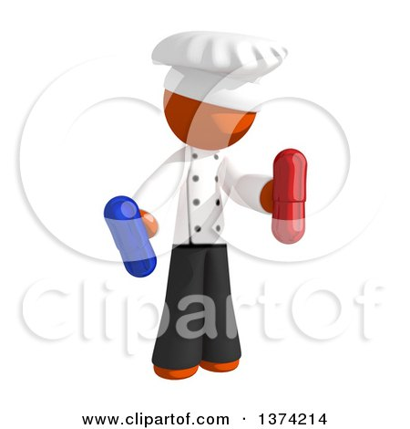 Clipart of an Orange Man Chef Holding Pill Capsules, on a White Background - Royalty Free Illustration by Leo Blanchette