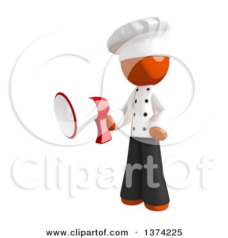Clipart of an Orange Man Chef Holding a Megaphone, on a White Background - Royalty Free Illustration by Leo Blanchette