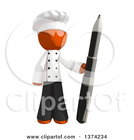Clipart of an Orange Man Chef Holding a Pen, on a White Background - Royalty Free Illustration by Leo Blanchette