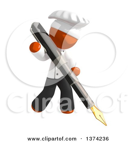 Clipart of an Orange Man Chef Writing with a Fountain Pen, on a White Background - Royalty Free Illustration by Leo Blanchette