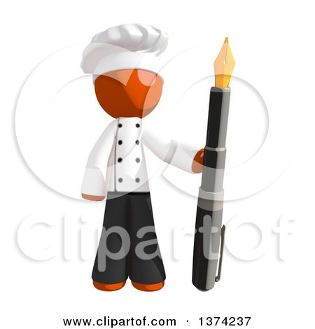 Clipart of an Orange Man Chef Holding a Fountain Pen, on a White Background - Royalty Free Illustration by Leo Blanchette