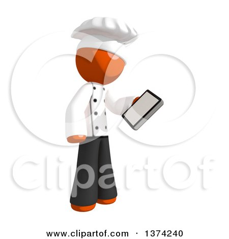 Clipart of an Orange Man Chef Looking at a Smart Phone, on a White Background - Royalty Free Illustration by Leo Blanchette