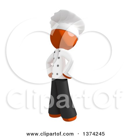 Clipart of an Orange Man Chef Standing with Hands on His Hips, on a White Background - Royalty Free Illustration by Leo Blanchette