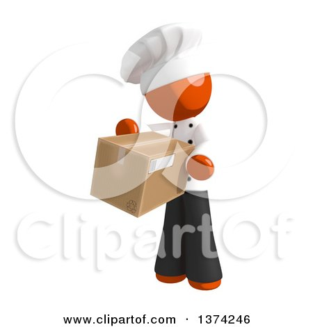 Clipart of an Orange Man Chef Holding a Box, on a White Background - Royalty Free Illustration by Leo Blanchette