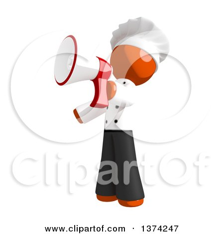 Clipart of an Orange Man Chef Announcing with a Megaphone, on a White Background - Royalty Free Illustration by Leo Blanchette