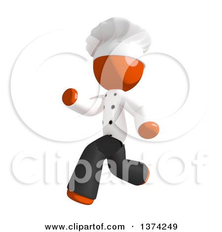 Clipart of an Orange Man Chef Running, on a White Background - Royalty Free Illustration by Leo Blanchette