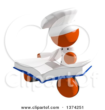 Clipart of an Orange Man Chef Reading a Book, on a White Background - Royalty Free Illustration by Leo Blanchette