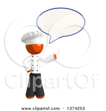 Clipart of an Orange Man Chef Talking, on a White Background - Royalty Free Illustration by Leo Blanchette