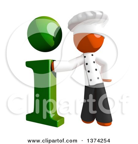 Clipart of an Orange Man Chef with an I Information Icon, on a White Background - Royalty Free Illustration by Leo Blanchette