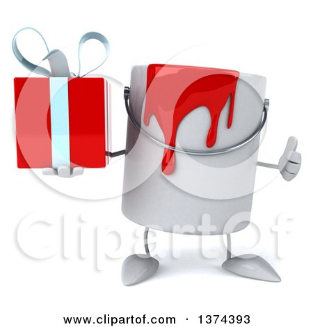 3d Can of Red Paint Character Holding a Gift, on a White Background Posters, Art Prints