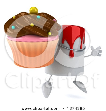 3d Can of Red Paint Character Holding a Chocolate Frosted Cupcake, on a White Background Posters, Art Prints