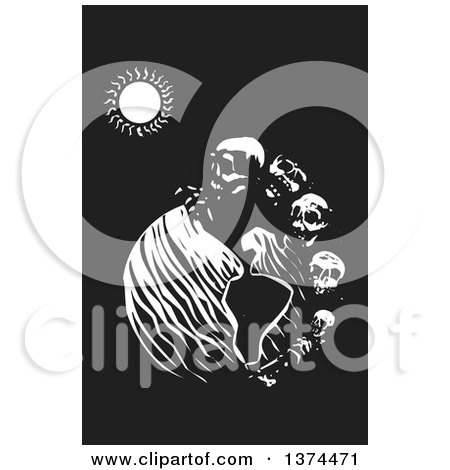 Clipart of a Black and White Woodcut Earth with a Row of Skulls Symbolizing Death - Royalty Free Vector Illustration by xunantunich
