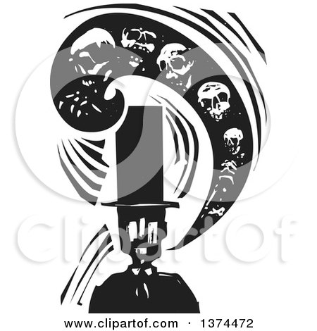 Clipart of a Black and White Woodcut Man in a Top Hat, with a Swirl of Skulls Symbolizing Death - Royalty Free Vector Illustration by xunantunich