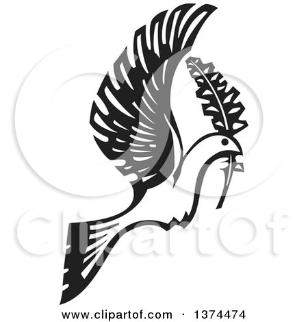 Clipart of a Black and White Woodcut Peace Dove Flying with a Branch - Royalty Free Vector Illustration by xunantunich