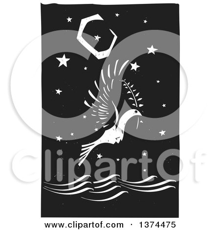Clipart of a Black and White Woodcut Peace Dove Flying with a Branch over the Ocean at Night - Royalty Free Vector Illustration by xunantunich