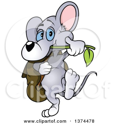 Clipart of a Cute Blue Eyed Gray Mouse Chewing on a Branch and Carrying a Bag - Royalty Free Vector Illustration by dero