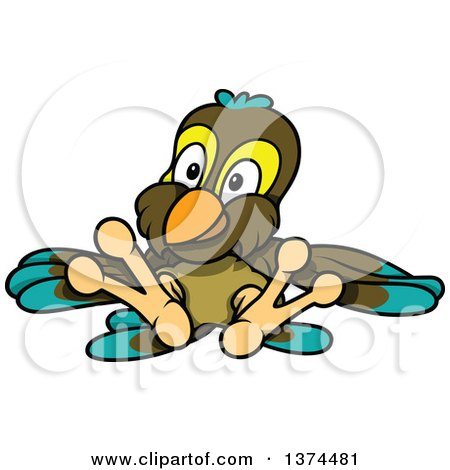 Clipart of a Cute Parrot Sitting and Leaning Back - Royalty Free Vector Illustration by dero