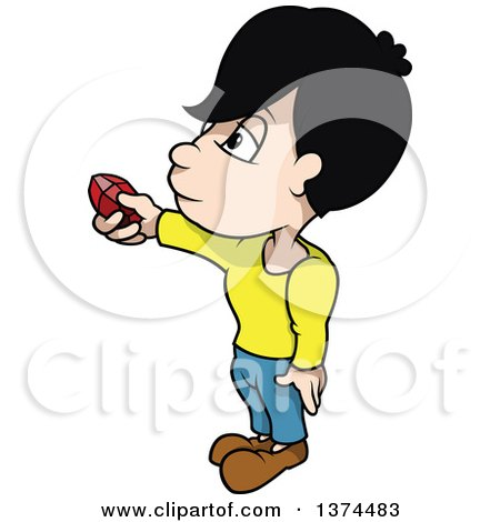 Clipart of a Boy Holding out a Red Ruby Gem - Royalty Free Vector Illustration by dero