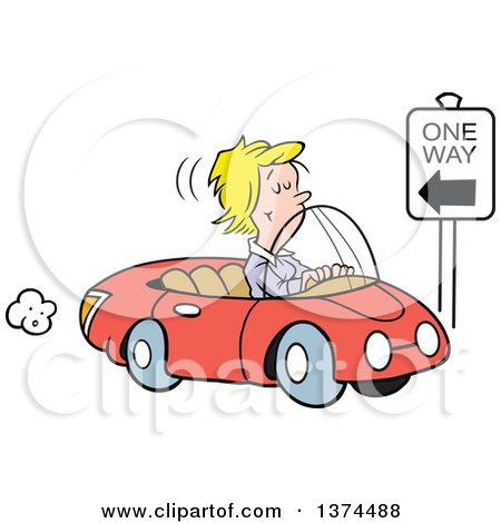 Cartoon Clipart of a Blond White Woman Driving the Wrong Direction down a One Way Street in Her Red Convertible Car - Royalty Free Vector Illustration by Johnny Sajem