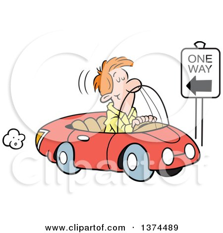 Cartoon Clipart of a Red Haired White Man Driving the Wrong Direction down a One Way Street in His Red Convertible Car - Royalty Free Vector Illustration by Johnny Sajem