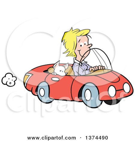 Cartoon Clipart of a Blond White Woman Cruising in Her Red Convertible Car with a Chihuahua Dog in the Passenger Seat - Royalty Free Vector Illustration by Johnny Sajem
