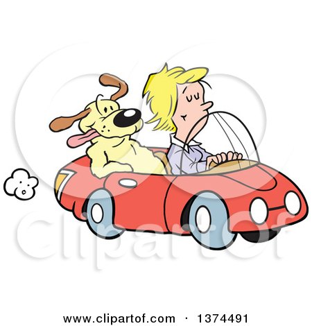 Cartoon Clipart of a Blond White Woman Cruising in Her Red Convertible Car with a Dog in the Passenger Seat - Royalty Free Vector Illustration by Johnny Sajem